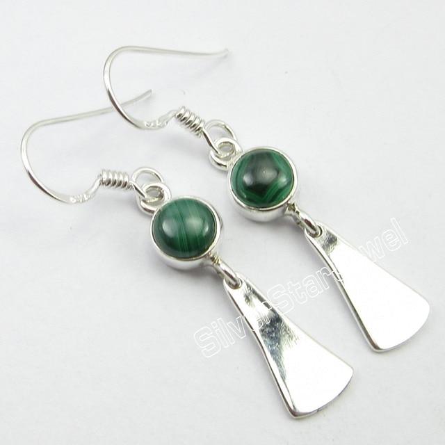 Chanti International 92 5 Pure Silver Malachite Unseen Wonderful Unusual Earrings 4 1 Cm