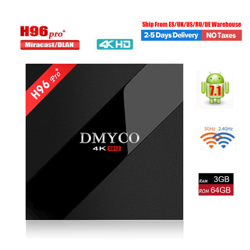 H96 PRO+ TV Box Android 7.1 OS Amlogic S912 Octa Core 3G/32G 3GB/64GB ROM WiFi 2.4G/5.0G BT4.1 H.265 DLNA Miracast 4K Player H96 5pcs android tv box tvip 410 412 box amlogic quad core 4gb android linux dual os smart tv box support h 265 airplay dlna 250 254