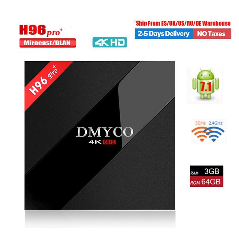 все цены на H96 PRO+ TV Box Android 7.1 OS Amlogic S912 Octa Core 3G/32G 3GB/64GB ROM WiFi 2.4G/5.0G BT4.1 H.265 DLNA Miracast 4K Player H96