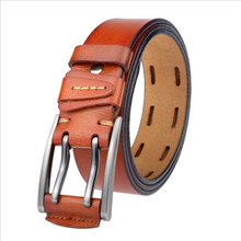 Double Pin Alloy Buckle Split Leather Belt