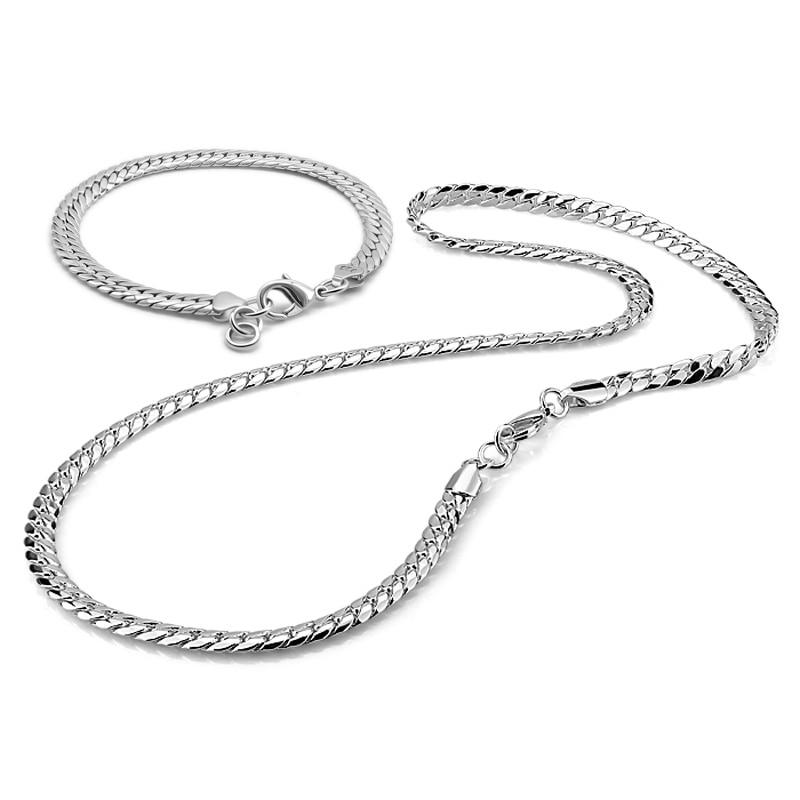Collier de costume pour hommes élégant 925 collier et bracelet en argent sterling bijoux chic chaîne en argent massif collier de fouet de cheval bijoux