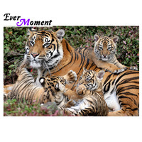 Ever Moment Diamond Painting Tiger Family Artwork Hobby Wall Decor Rhinestone Diamond Embroidery 5D DIY Full Square 3F1382