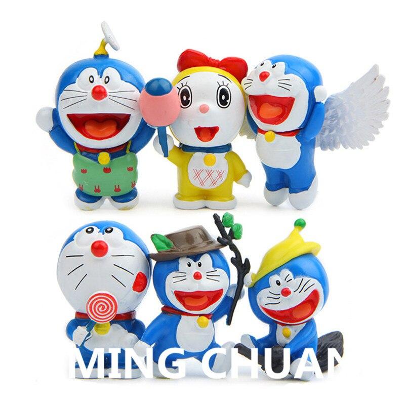 6pcs/set Doraemon plastic Action Figure Collectible Model Toy about 6cm Q17
