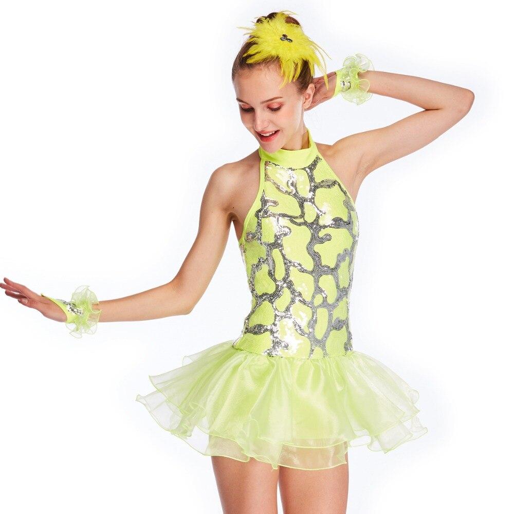 67269af29 ᗜ LjഃAmarillo baile disfraces Ballet Tutu vestido de lentejuelas ...