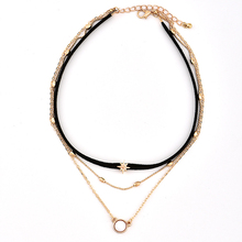 Woman Multi Layers Tassel Pendant Choker Chain Necklace Collar Jewelry New leather rope sun star multi-layer women's necklace multi color fashion bk jewelry red rope magnetic 5 layers strands choker statement necklace