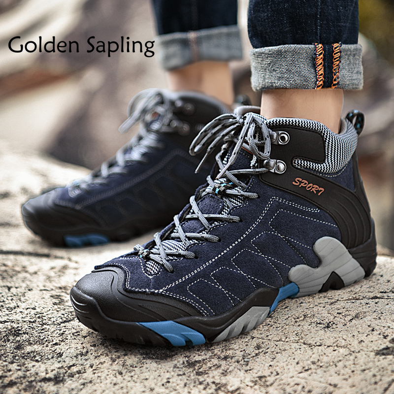 Golden Sapling Mens Hiking Boots Mountain Trekking Shoes Man Breathable Outdoor Sneakers Men Waterproof Leather Male Sports Shoe цена