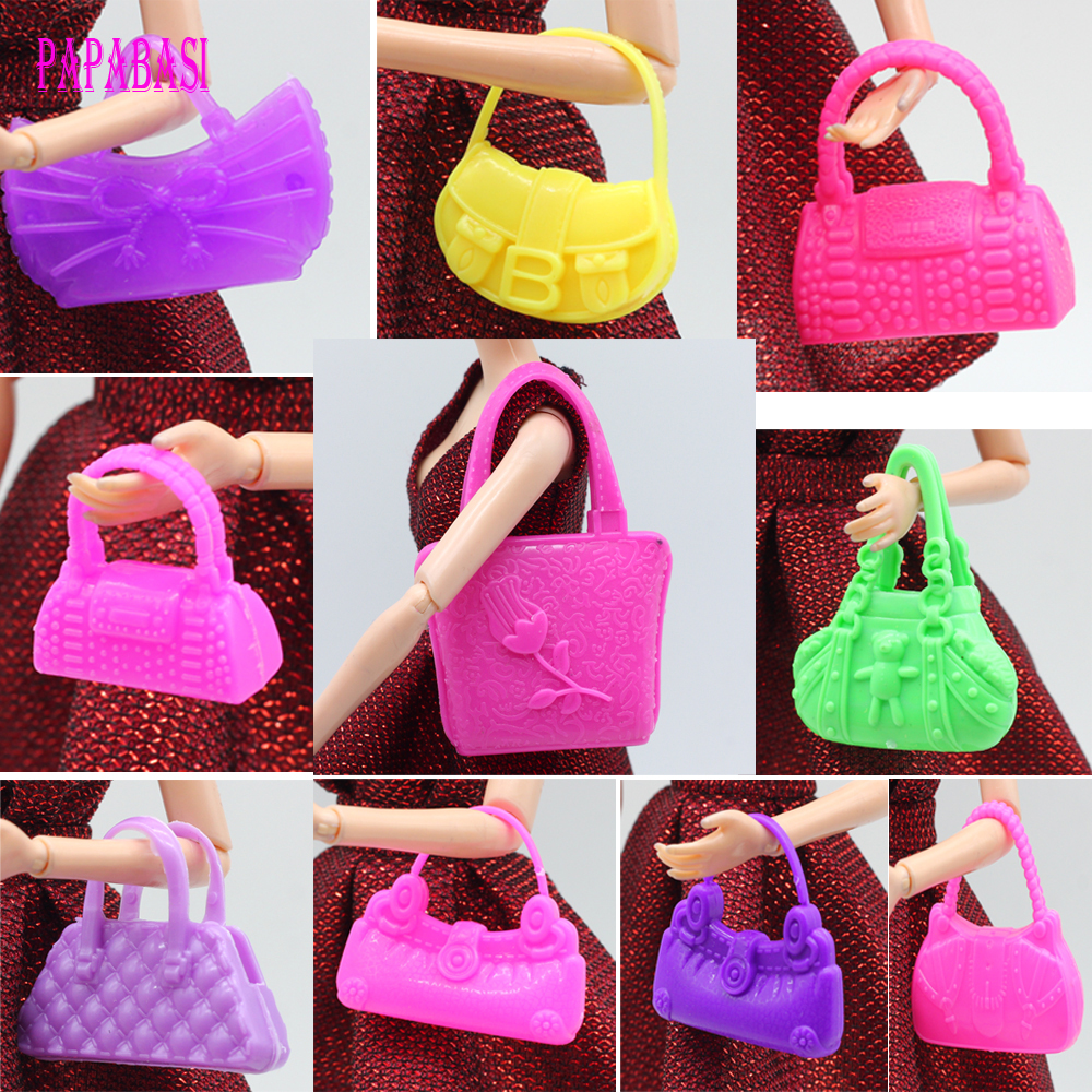 10 PCS Mix Styles Doll Bags Accessories Toy Colorized Fashion Morden Bags For Barbie 1/6 Doll Birthday Xmas Gift