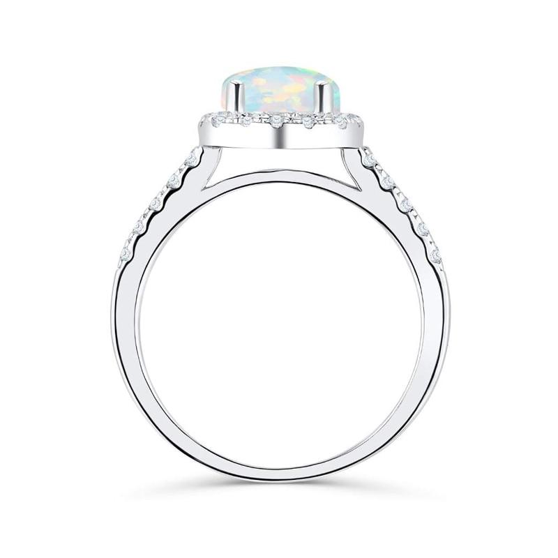 Silverwill élégante bague de fiançailles opale pour femmes halo 925 bague en argent sterling cadeau anniversaire unique bijoux 2019 moda - 3