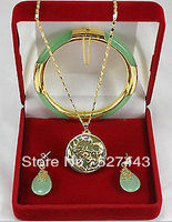 Groothandel gratis verzending>> Charmant green stone Dragon Phoenix hangers ketting oorbel armband set