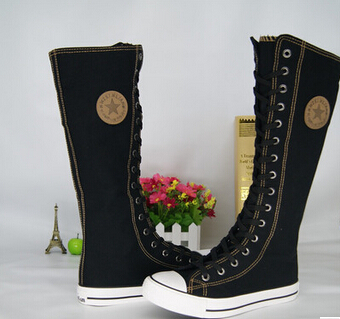 2019 Adult Fashion Gothic PUNK Women Boots Women Knee High With side zipper canvas shoes 35-43 Free shipping