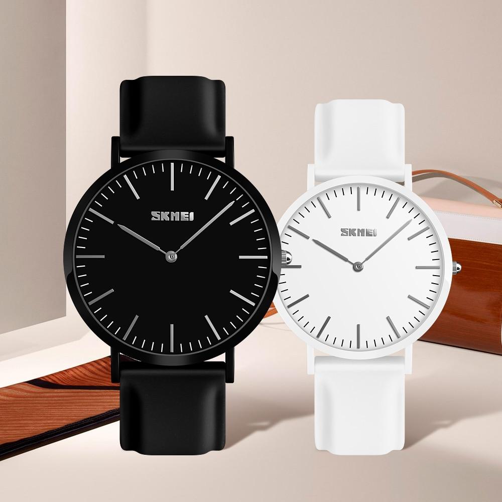 SKMEI Couple Watch Lovers Watch Ultra Thin Lover's Watches for Women Man Clock Relogio Feminino Quartz Wristwatch Women Clock