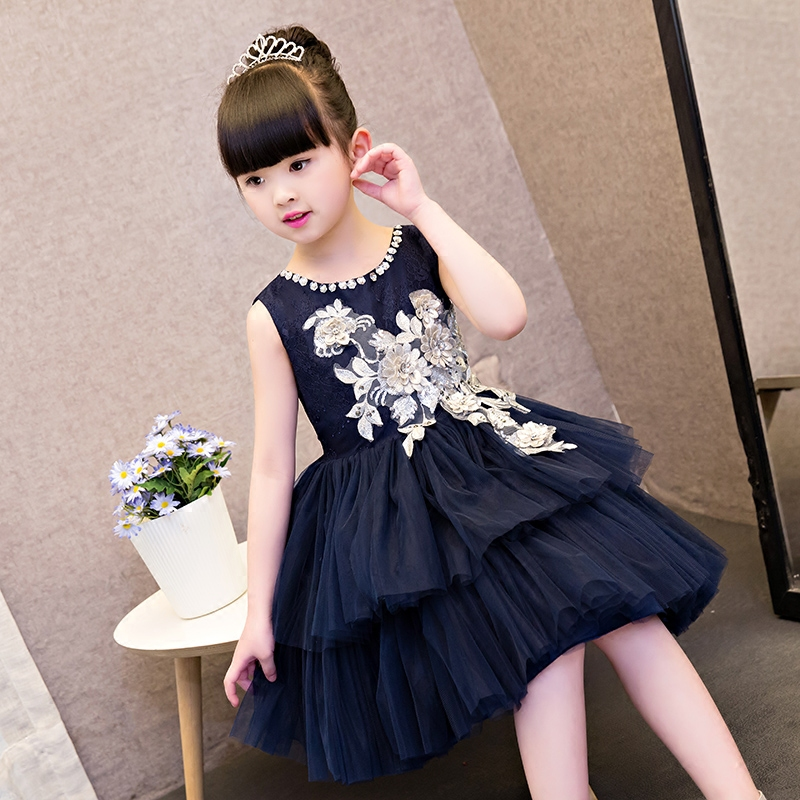 Children First Communion Dress New 2017 Summer Fashion Bow Floral Kids Wedding Party Lace Dresses Sequins Princess Kids Clothes ems dhl free ship 2018 summer new girl dresses bow silver sequins grey gauze sundress children princess dress sequin sparkle