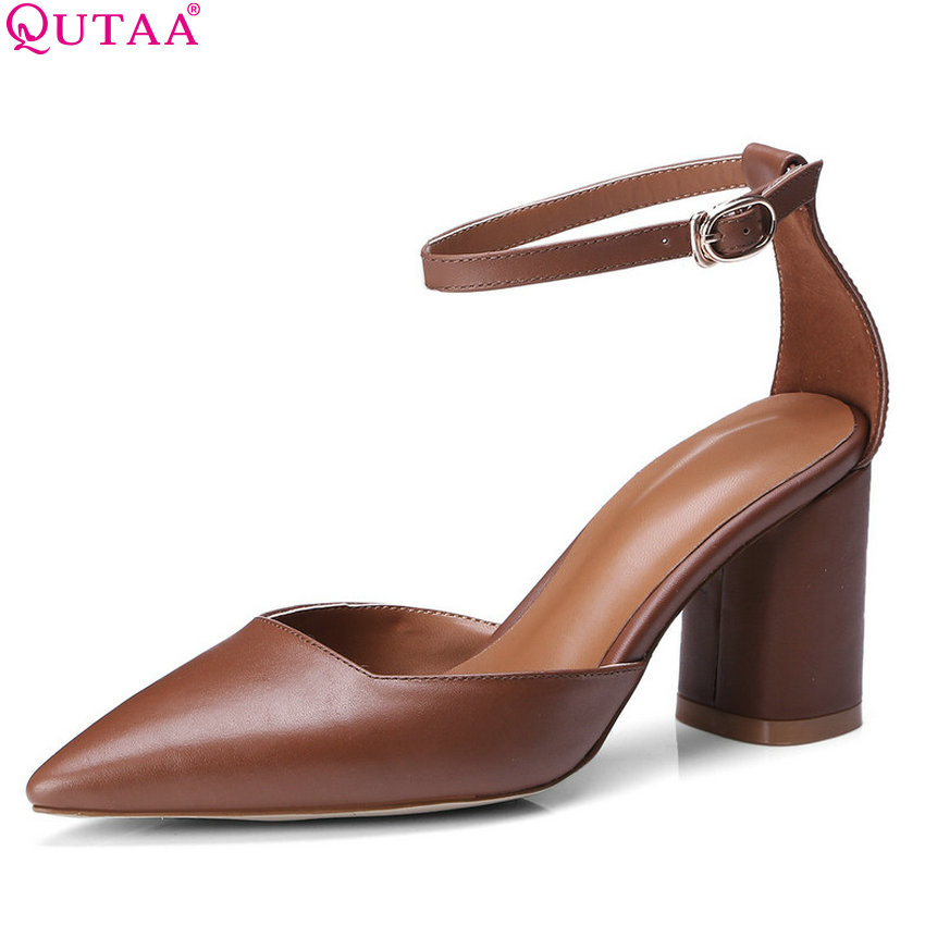 QUTAA 2020 New Women Pumps Cow Leather Fashion Women Shoes Platform All Match Casual Westrn Style