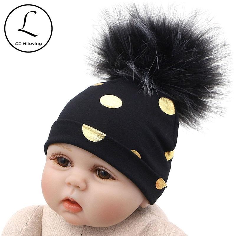 GZHilovingL 2018 Brand Newborn Kids Baby Boys Girls Warm Winter Spotted Cotton Beanie Fur Pom Pom Bobble Hat Cap Winter Warm Hat