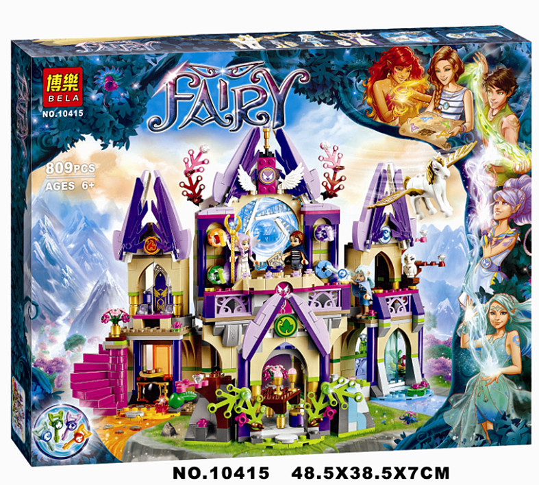 gifts 809pcs 10415 Elves Skyra's Mysterious Sky Castle Elves 41078 Girls Friends Building Blocks Bricks Toys Compatible Legoe 809pcs new 10415 elves azari aira naida emily jones sky castle fortress building block toys