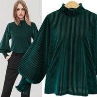 Eleganckie luźne aksamitne bluzki damskie Casual latarnia rękaw 2019 wiosna lato Vintage koszula damska zielonymi biurowa, damska bluzki