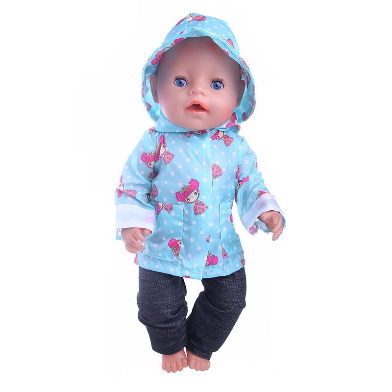 Fleta Baby Born Doll Fashion girl blue stamp raincoat fit 43cm Zapf Doll Fashion Baby Born Doll Accessories (Only clothes) n189 rose christmas gift 18 inch american girl doll swim clothes dress also fit for 43cm baby born zapf dolls