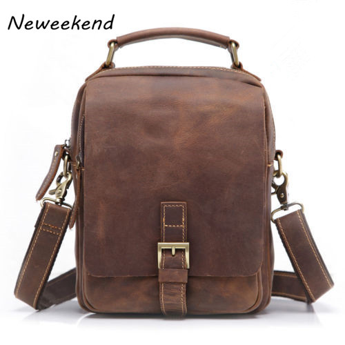 ФОТО NEWEEKEND 5066 Men's Genuine Leather Bags Small Business Bags Man Crazy Horse Leather Portfolio Male Crossbody Shoulder Bag