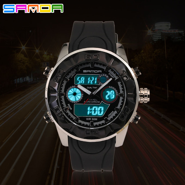 SANDA Waterproof Shock Proof Men Sport Quartz Watch Led Digital Dual Zone Times Outdoor Military Wristwatches With Gift Box 2016