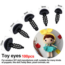 100pcs Eyeball Doll Accessories Black Plastic Crafts Eyes for Toys 6-12mm DIY Funny Toy Eyes Accessories for Dolls 6-12mm 12mm doll stuffed doll eyeballs half round acrylic eyes for diy doll bear crafts mix color plastic doll eyeball 100pcs box