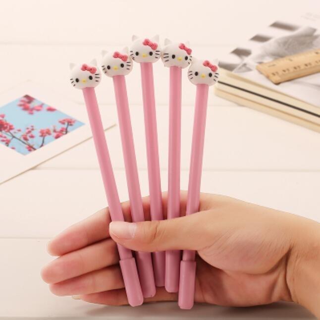 1pcs Novetly 3D Pink Cat design 0 38mm Black gel pen kawaii Signature pen funny gift
