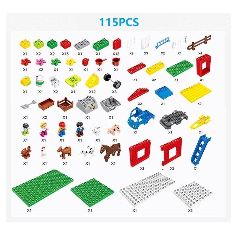 cc5c5a7bbb 115 pz Compatibile Legoe Duploe Building Blocks Giocattoli per Bambini  Grandi particelle happy Farm mattoni Educativo Del Capretto Del Bambino  regali in 115 ...