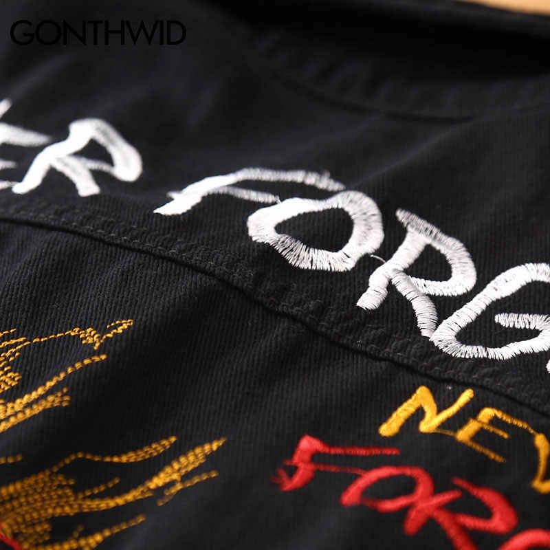 2019 Embroidery Rose Skull Denim Jackets Men Hip Hop Jacket Autumn Casual Cotton Jean Jacket Coats Male Japanese Streetwear
