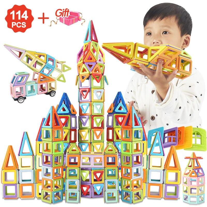 114pcs To 196PCS Magnetic Blocks Magnetic Designer Building Construction Toys Set Magnet Educational Toys For Children Kids Gift(China)