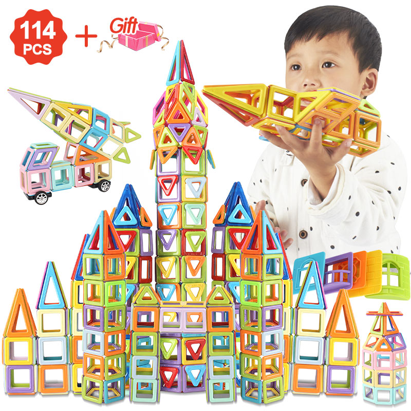 114pcs To 196PCS Magnetic Blocks Magnetic Designer Building Construction Toys Set Magnet Educational Toys For Children Kids Gift