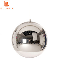 BLUBBLE Glass Ball Pendant LED Light Spherical Transparent Pendant Lamp Single Hole Plated Hanglamp Bedrooms Parlor Hanging Lamp