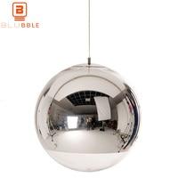 BLUBBLE Glass Ball Pendant LED Light Spherical Transparent Pendant Lamp Single Hole Plated Hanglamp Bedrooms Parlor Hanging Lamp
