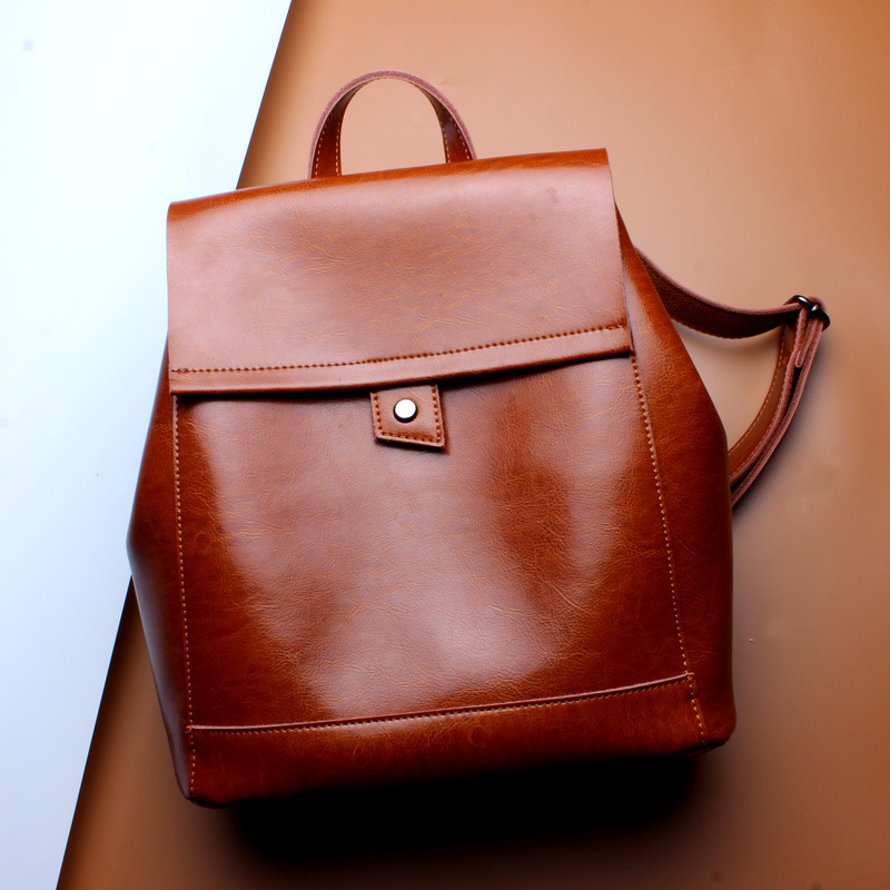 New Leather Backpacks Soft Leather Retro College Ladies Double Shoulder Bags Genuine Leather Backpack Fashion Women Bags рюкзаки zipit рюкзак shell backpacks