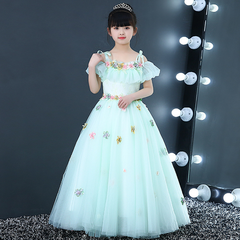 Off the Shoulder Holy Communion Dress Long Princess Party Dress for Birthday Lace Up Ball Gown Flower Girl Dresses Wedding B151