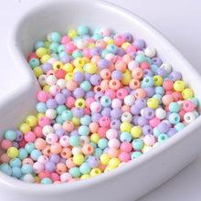 Perles rondes en acrylique couleurs bonbon mélangées, 1000 pièces, 4mm, idéal pour bijoux perles à faire soi-même, YKL0019X