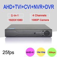 Hi3521A 5 in 1 XMeye 4 Channel 4CH 1080P 2MP 25Fps Realtime Surveillance Hybrid Coaxial Onvif NVR TVI CVI AHD DVR Free Shipping