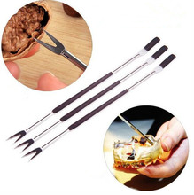 5ps/lot Stainless Steel Lobster Crab Needle Multifunctional Walnut Fruit Fork Kitchen Gadgets Seafood Tools OK 0428