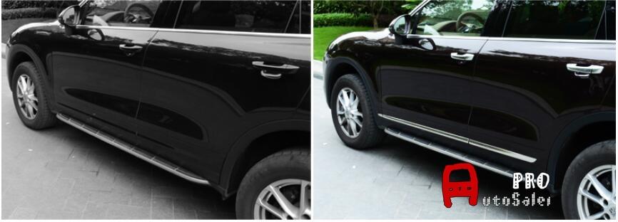 Stainless Matt Body Side Door Bottom Molding Cover Trim 4pcs For Porsche Cayenne 2011 2012 2013 2014 2015 2016