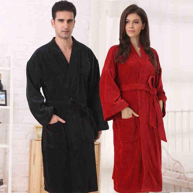 3e4f2a3f8d Women cotton bathrobe sleepwear nightgown for girls bathrobes home  thickening lovers long soft autumn winter white red