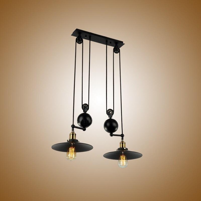 Rétractable E27 Loft Suspension lampe café éclairage LED Loft réglable 2 têtes Bar Suspension lumière chambre maison Suspension G106