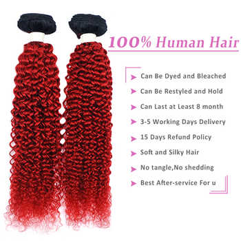 Pinshair 1B 赤人間の髪のバンドル閉鎖バーガンディオンブルブラジリアンアフロ変態縮毛 4 バンドルと閉鎖非-