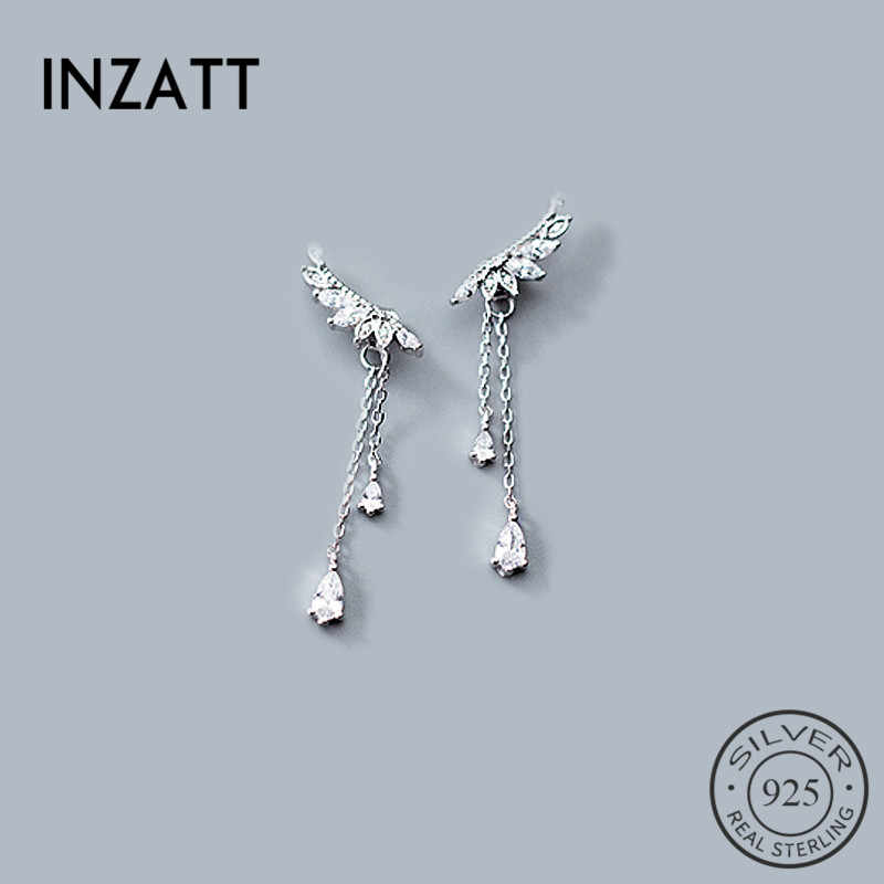 INZATT Boho Zirkon Sayap Rantai Rumbai Drop Earrings Wanita Wedding Party Tiga Warna Charm Perak 925 Jewelry Cukup Hadiah