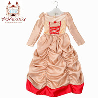 2 7 Years Old Girl Dress Full Reguiar Sleeve Princess Belle Dress For Party Cosply Costume