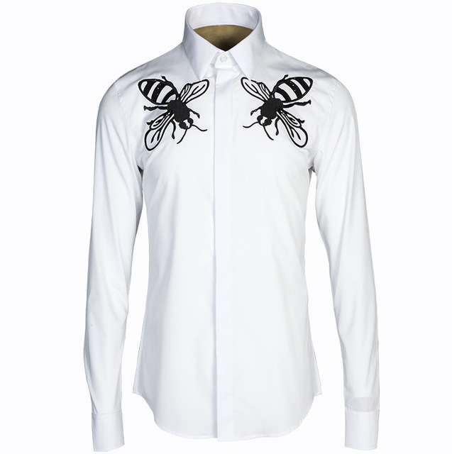 Men Casual Shirts Luxury Brand Designer Latest Machine Embroidery