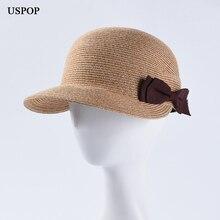 USPOP 2019 New summer hats for women straw sun casual bow-knot visor cap cotton yarn patchwork baseball