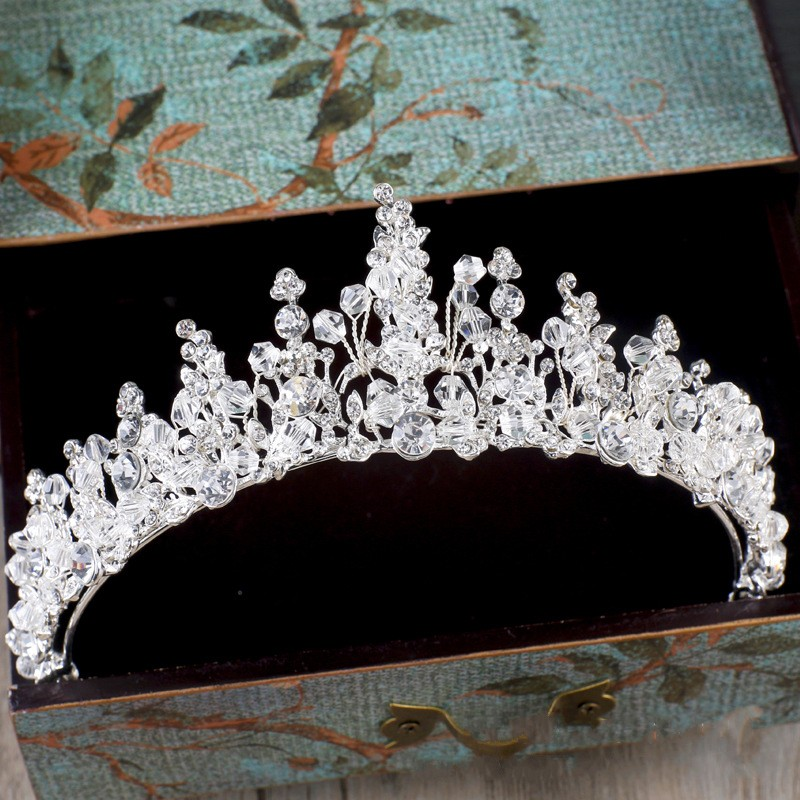 Crystal Rhinestone Beads Hair Jewelry Silver Plated Bridal Tiara Crown Wedding Hair Accessories Gorgeous Bride Princess Headwear