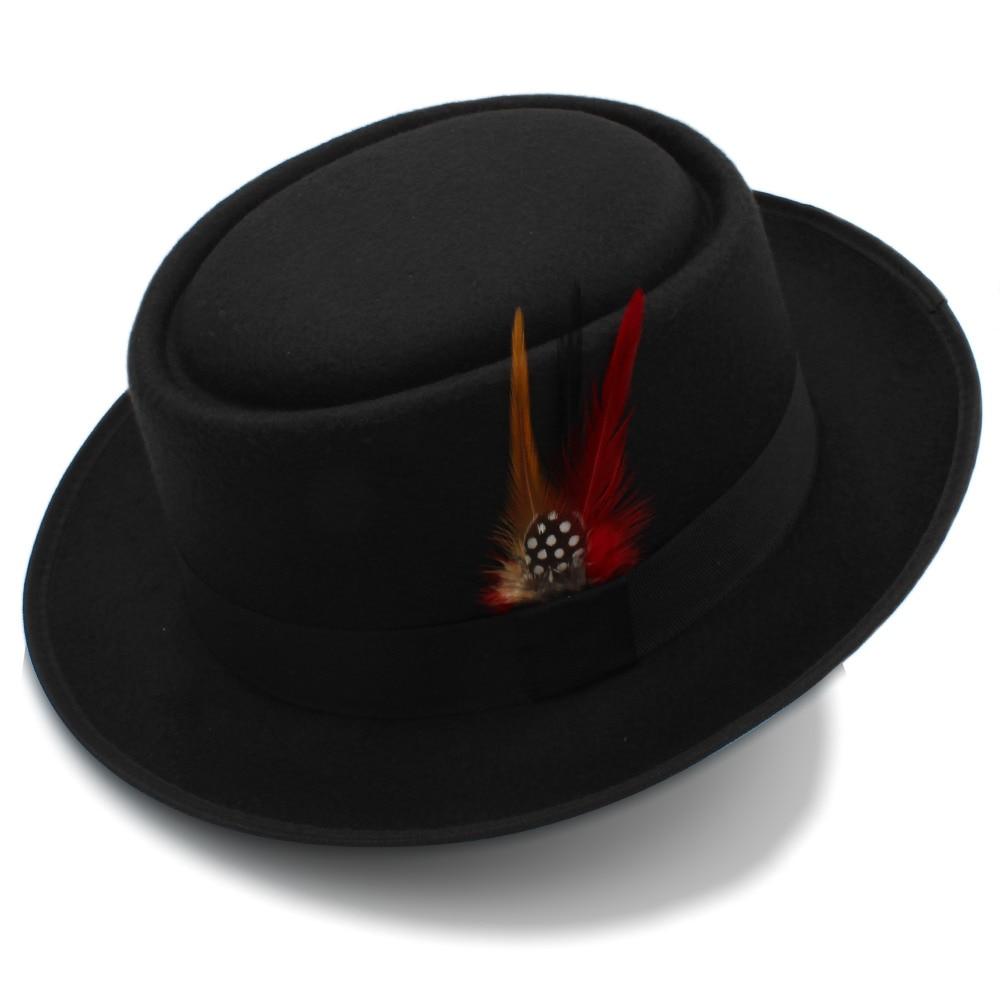 Fashion Women Men Pork Pie Hat Dad Wool Flat Fedora Hat Lady Gentleman Gambler Panama Trilby Hat With Fashion Feather Size 58CM 3
