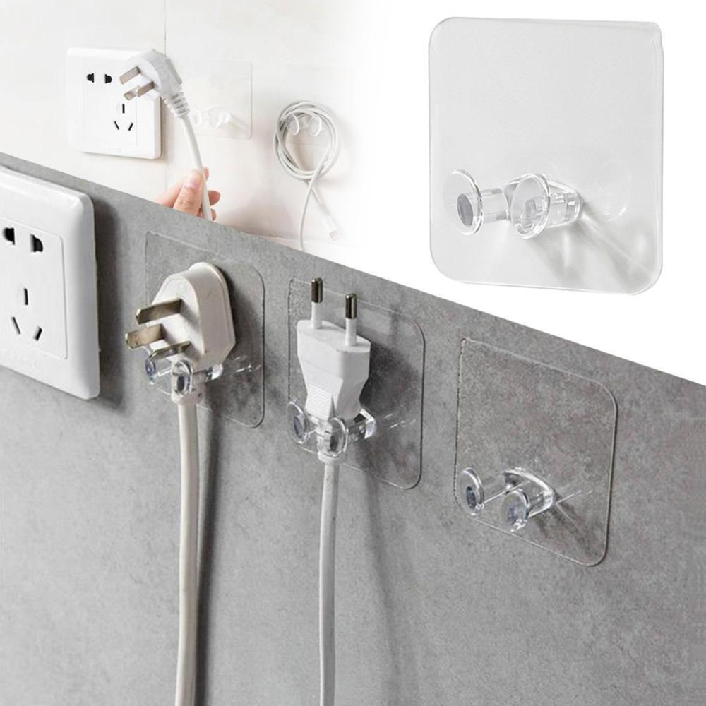 5pcs Wall Storage Hook Power Plug Socket Holder Wall Adhesive Hanger Office Wholesale Price