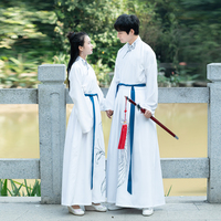 2019 summer adult costume chinese hanfu mens blue suits for tang dynasty