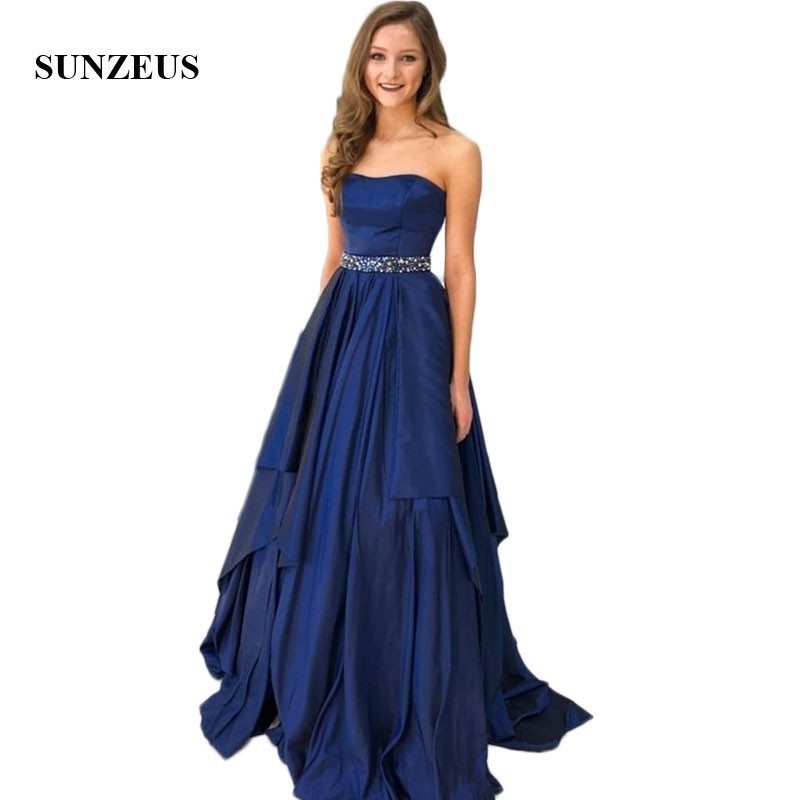 Royal Blue Satin   Prom     Dresses   A-Line Strapless Beaded Sequins Waist Charming Girls Graduation Gowns Asymmetrical Skirt SP44