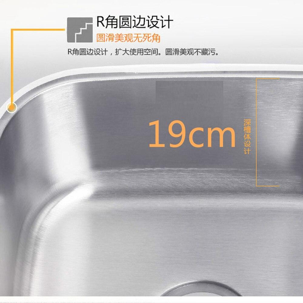 Évier de cuisine fait à la main 41*37*19 CM en acier inoxydable brossé simple bol évier de cuisine avec égouttoir sans robinets de cuisine mx4121715 - 6
